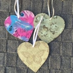 Wooden decoupaged tags