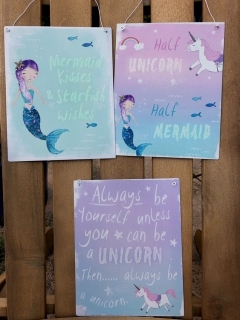 Mermaid and Unicorn Plaques