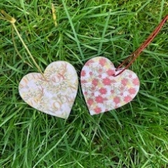 Decoupaged Heart Christmas Tree Decorations