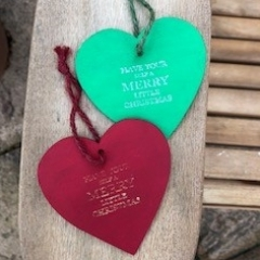 Wooden Heart Christmas Tree Decorations
