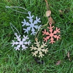 Wooden Snowflake Christmas Tree Decorations