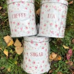 Vintage Rose Tea, Coffee and Sugar Caddies